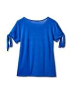 """""""Believe In Yourself"""" Cold Shoulder Tee - Blue - Back"""