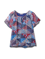 Patchwork Peasant Woven Blouse - Navy - Front