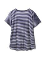 Screen Print Stripe Rib Tee - Plus - Navy - Back