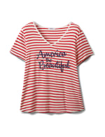 """America The Beautiful"" Stripe Rib Tee - Plus - Red - Front"