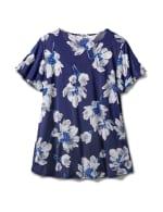 Criss Cross Neck Floral Knit Top - Plus - Navy - Back