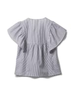 Embroidered Angel Sleeve Stripe Woven Top - Navy - Back