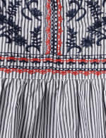 Embroidered Angel Sleeve Stripe Woven Top - Plus - 3