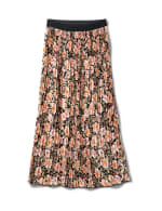 Floral Print Pleated Skirt With Contrast Elastic Waistband - Floral - Front