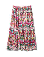 Long Crinkle Pleated Skirt - Multi - Back