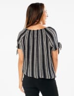 Smocked Geometric Grommet Tie Sleeve Top - Black/White - Back