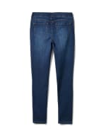 Mid Rise Skinny Pull On Jean Pants - Front And Back Pockets - Dark Stone Wash - Back