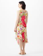 Drape Neck  Spring Floral Chiffon Dress - Champagne - Back