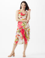 Drape Neck  Spring Floral Chiffon Dress - Champagne - Front