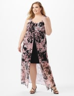 Rushed Empire Detail Floral Maxi Dress - Dusty Rose - Front