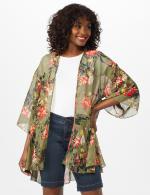 Floral Flounce Hem Kimono - Olive - Front