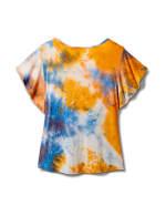 Tie Dye Tie Front Knit Top - Orange - Back