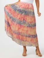 Pull On Crinkle Skirt - Indigo/ Coral - Front