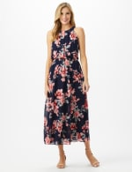 Petite Halter Neck Floral  Maxi Dress - Navy/Coral - Front