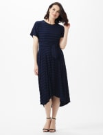 Tonal Stripe Tie Waist Sharkbite Hem Dress - Dark Navy - Front