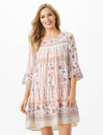 Mixed Pattern Baby Doll Dress with 3/4 Sleeves - 1