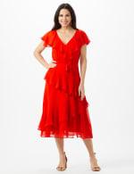 Ruffle V-Neck Chiffon Ruffle Layer Dress - Spice - Front