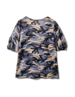 Camo Twist Sleeve Thermal Knit Top - Plus - Demim - Back