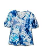 Tie Dye Twist Sleeve Thermal Knit Top - Blue - Front