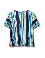 Stripe Square Neck Knit Top - Turq - Back