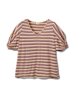 Rib Stripe Thermal Tee - Plus - Banana - Front