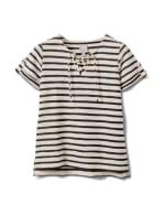 Lace Up Stripe Knit Top - 7