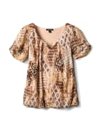 Roz & Ali Animal Print Bubble Hem Blouse - Khaki - Front