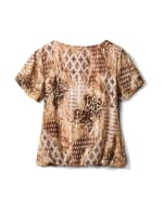 Roz & Ali Animal Print Bubble Hem Blouse - Khaki - Back
