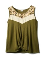 Mixed Camo Knot Front Knit Top - Plus - Olive - Front