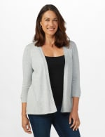 Roz & Ali Lace-Up Back Cardigan - Misses - Light Heather Grey - Front