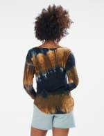 Tie Dye Side Cinched Knit Top - Misses - Olive - Back