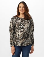 Hacci Sweater Knit Puff Shoulder Animal Top - Misses - Taupe - Front