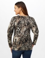 Hacci Sweater Knit Puff Shoulder Animal Top - Misses - Taupe - Back