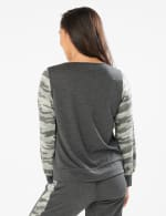 Camouflage Mixed Print Knit Top - Charcoal - Back