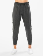 Jogger Knit Pant With Camouflage Trim - Charcoal - Front