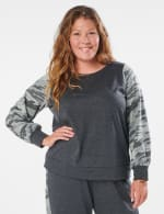 Camouflage Mixed Print Knit Top - Plus - Charcoal - Front