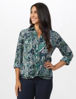 """Paisley """"To Tie Or Not To Tie"""" Button Front Shirt - Misses - Navy - Front"""
