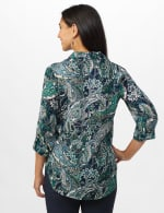 """Paisley """"To Tie Or Not To Tie"""" Button Front Shirt - Misses - Navy - Back"""