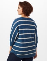 Westport Stripe Curved Hem Sweater - Plus - Vintage Denim/Silver - Back