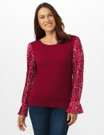 Roz & Ali Pleated Sleeve Pullover Sweater - Misses - Burgundy - Front