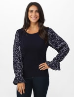 Roz & Ali Pleated Sleeve Pullover Sweater - Misses - Navy - Front