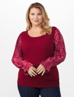 Roz & Ali Pleated Sleeve Pullover Sweater - Plus - Burgundy - Front