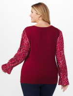 Roz & Ali Pleated Sleeve Pullover Sweater - Plus - Burgundy - Back