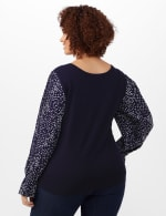 Roz & Ali Pleated Sleeve Pullover Sweater - Plus - Navy - Back