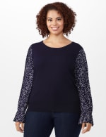 Roz & Ali Pleated Sleeve Pullover Sweater - Plus - Navy - Front