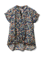 Floral Button Front Blouse - Navy/Coral/Green - Front
