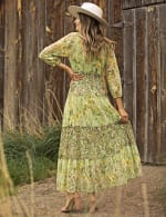 Printed Lace Tiered Maxi Dress - green - Back