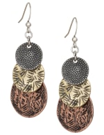 Stamped Metal Trio Earrings - Multi - Front