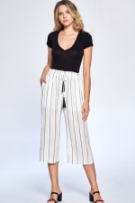 Pinstripe Drawstring Ankle Pants - Black - Front