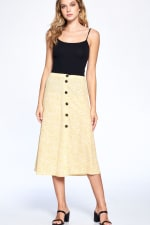 Button Front Ankle Length Skirt - Mustard - Front